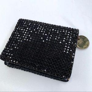 Deux Lux Black Crystal Zip Wallet